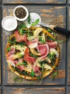 South African pears, Parma ham and rocket pizza